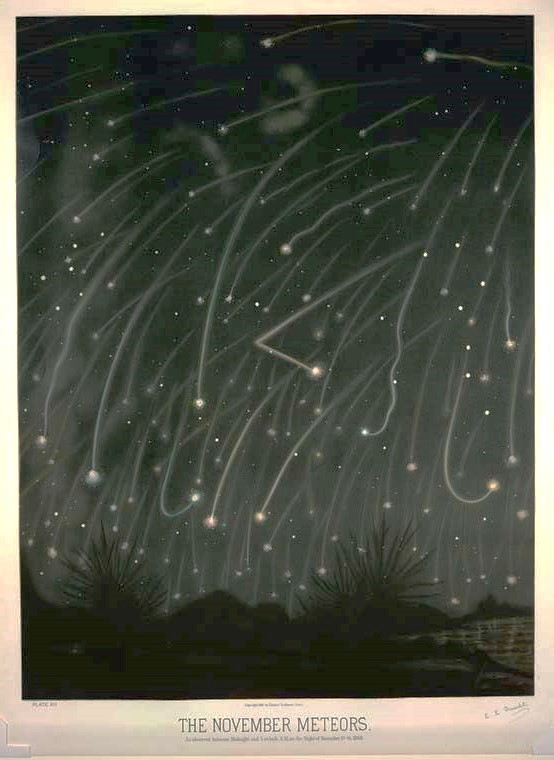 Colored book plate of November Meteors