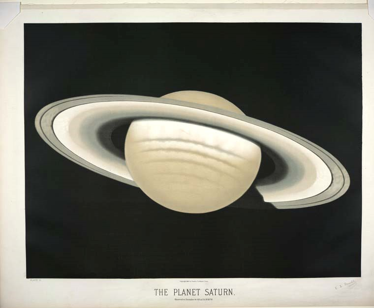 Colored book plate of the planet Saturn