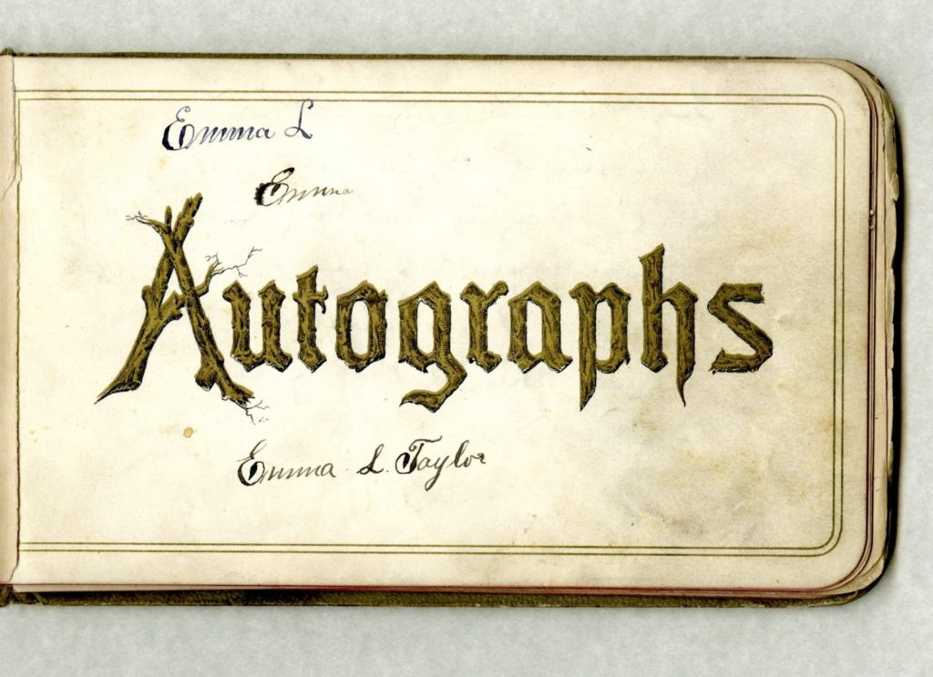 Title Page of Autograph book with signature of Emma L Taylor