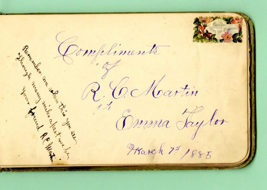 Signature and Inscription by R.C. Martin in Emma Taylor's autograph book