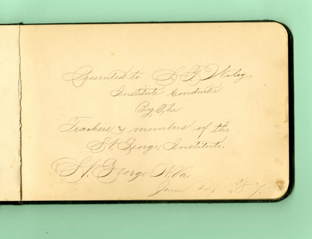 Inscription in Wiley autograph book
