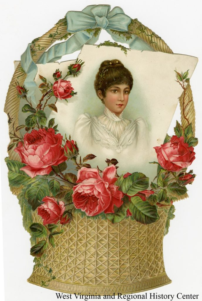 Easter greeting card showing woman's portrait in a basket of roses