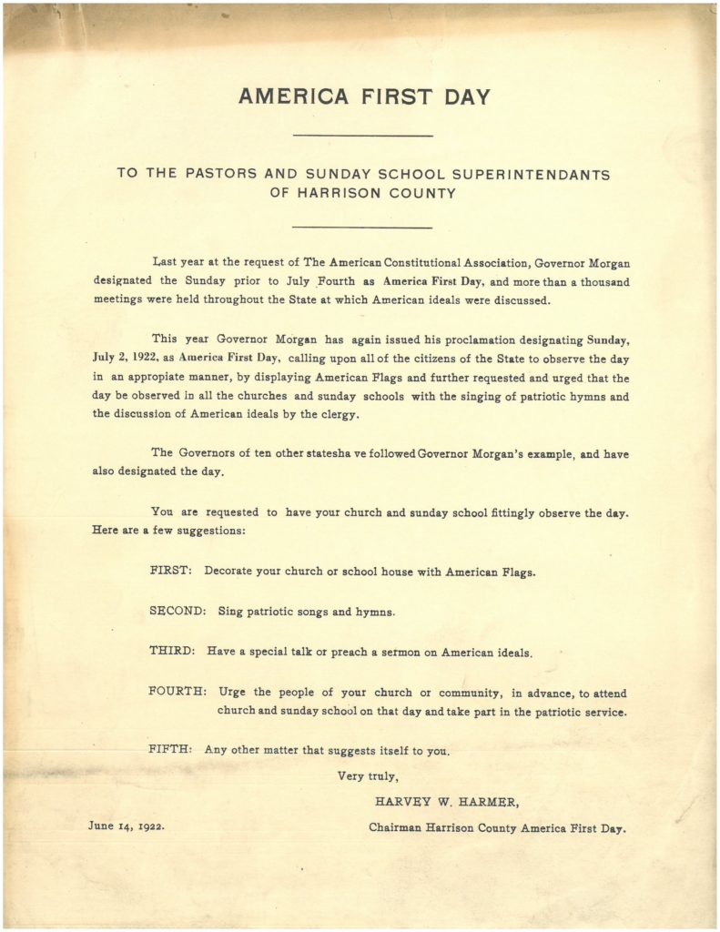 "Flyer, ""America First Day, To the Pastors and Sunday School Superintendants [sic] of Harrison County"""
