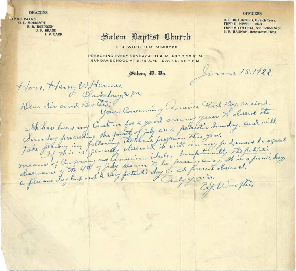 Letter from pastor of Salem Baptist Church to Harvey Hamer