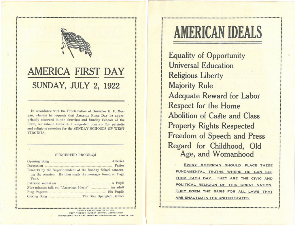 America First Day program, first and second pages