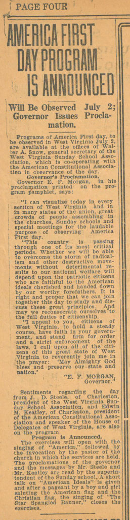 "Newspaper clipping, headline ""America First Day Program is Announced"""