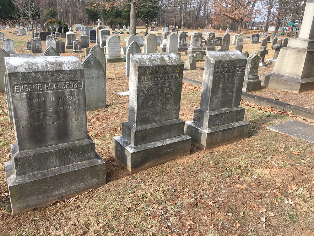 The gravestones of Eugene Blackford, Rebecca Gordon Blackford, and William Gordon Blackford
