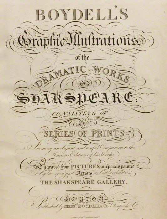 Title page of Boydell's Graphic Illustrations of the Dramatic Works of Shakespeare