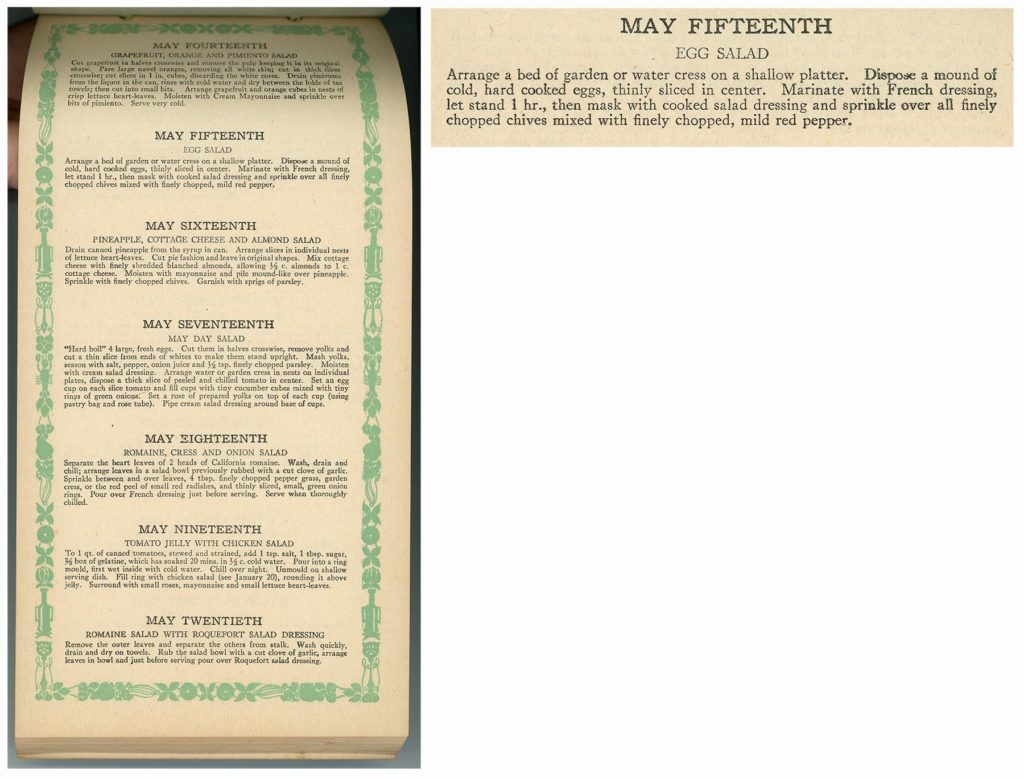 "Full page and closeup image of ""May Fifteenth Egg Salad"" recipe"