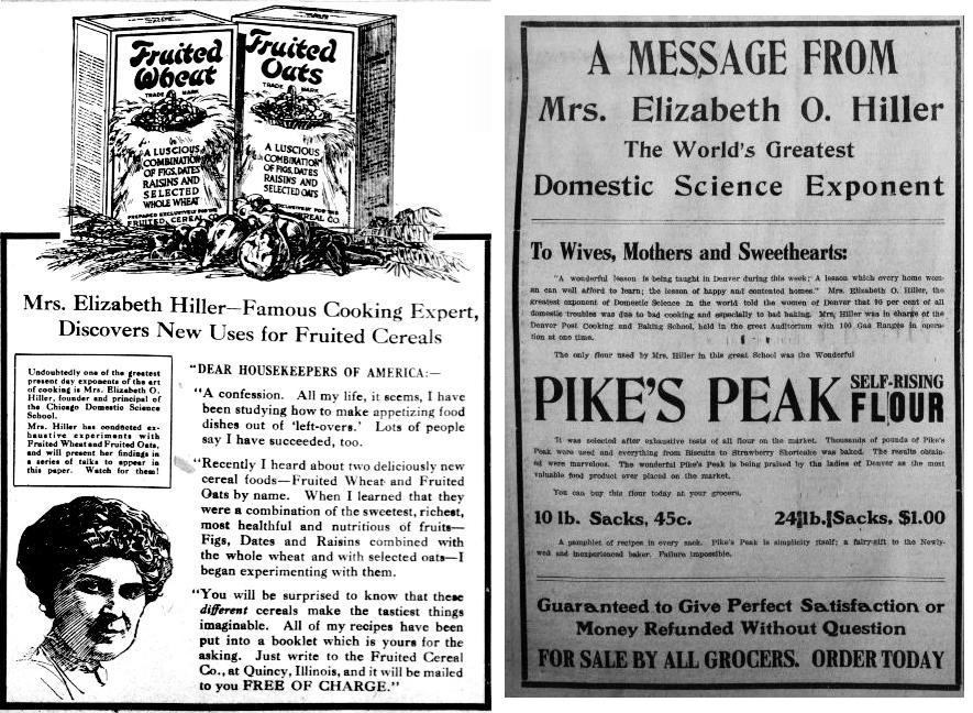 Mrs. Elizabeth Hiller endorsement ads for Fruited Oats and Pike's Peak Self-Rising Flour