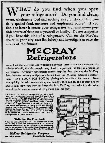 Advertisement for McCray Refrigerator Company