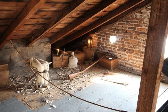 Interior of the attic garret of the Shriver House