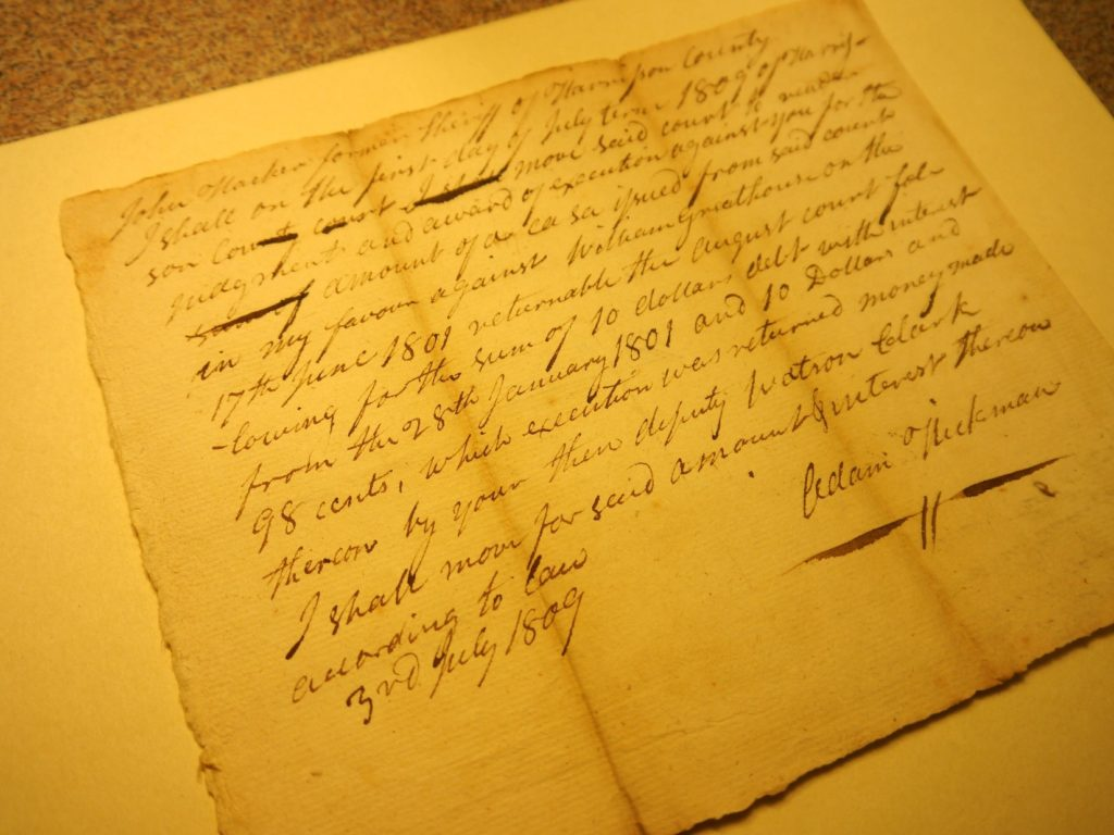 Handwritten Harrison County Court Record involving John Harker and Adam Hickman, 1809