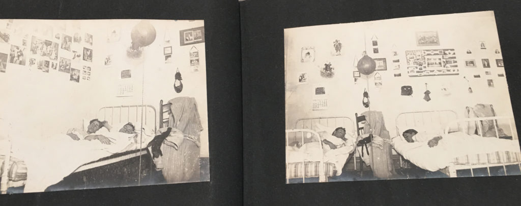 Two photos in an old student scrapbook