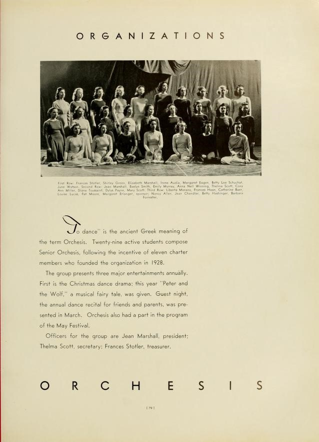 Orchesis group page from Monticola yearbook, 1928