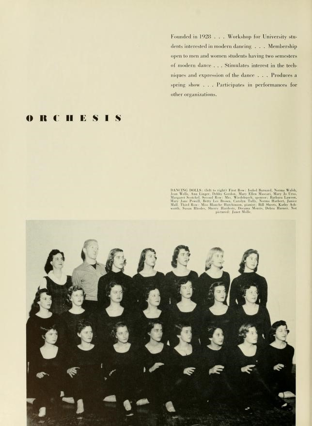 Orchesis group page from Monticola yearbook, 1956
