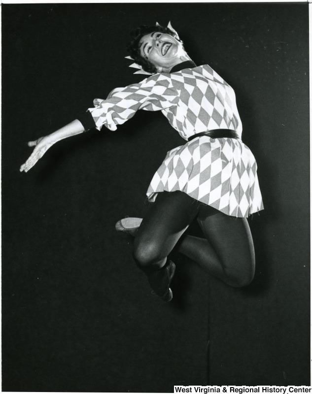 WVU Orchesis dancer jumping