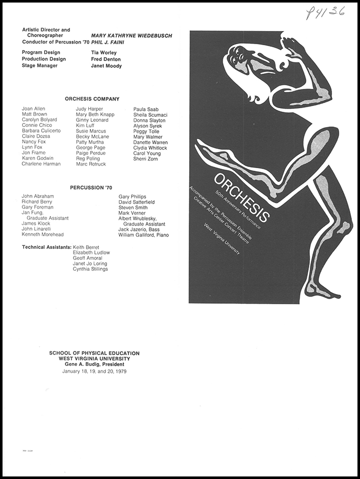 Front and Back Cover for Orchesis Dance Performance Program, 1979