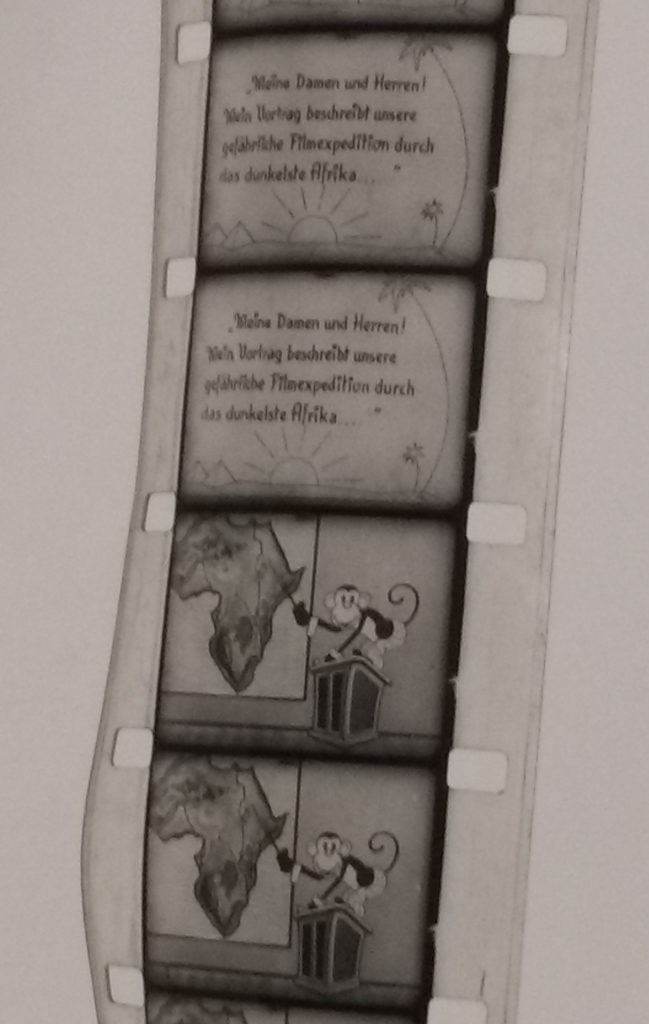 Film strip with a frame of text and a frame of animation