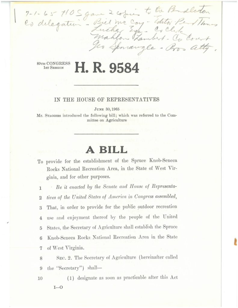 The first page of HR 9584 introduced by Rep. Staggers on June 30, 1965