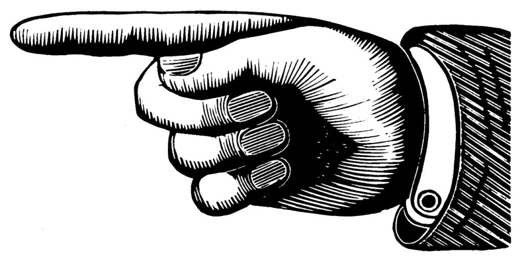 black and white manicule