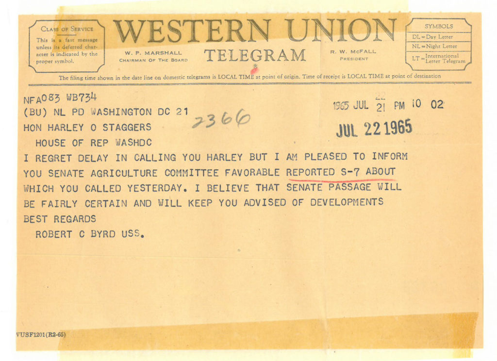 A telegram from West Virginia Senator Robert C. Byrd to Congressman Staggers, July 22, 1965, indicating that his bill would pass