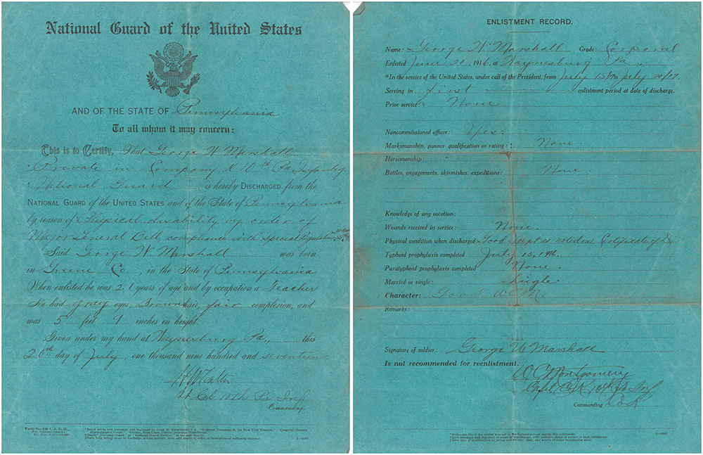 Discharge Paper for George W. Marshall