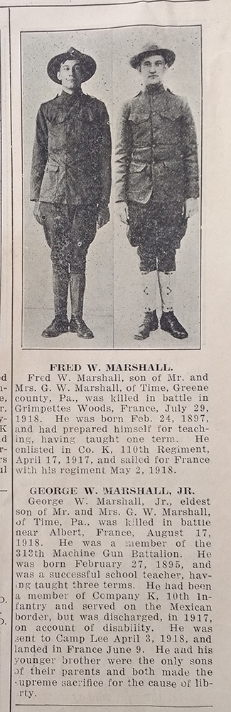 Clipping of obituaries for Fred W. Marshall and George W. Marshall, Jr.