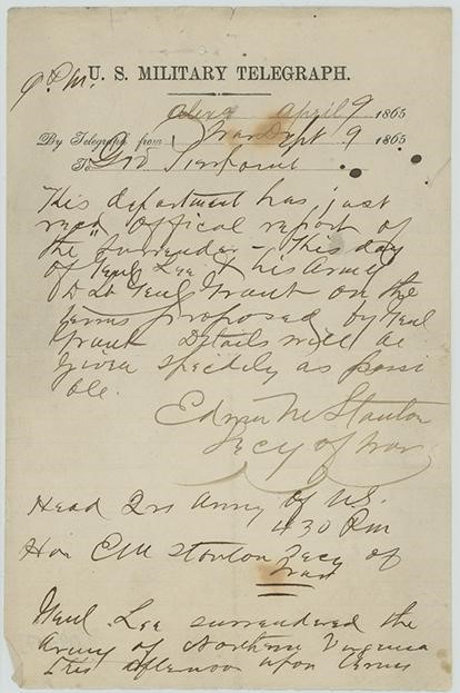 "Handwritten message on paper with ""U.S. Military Telegraph"" printed at the top"