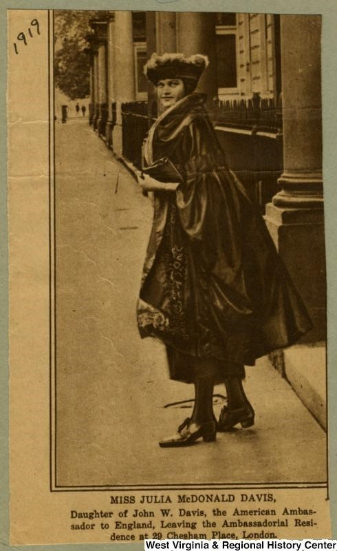 Newspaper clipping showing Miss Julia McDonald Davis