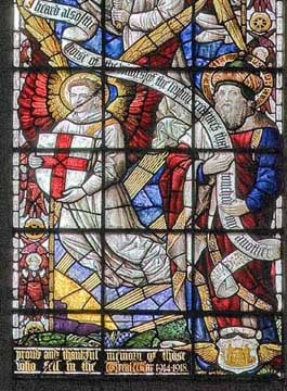 Stained glass window depicting St. Michael and an angel holding a shield.