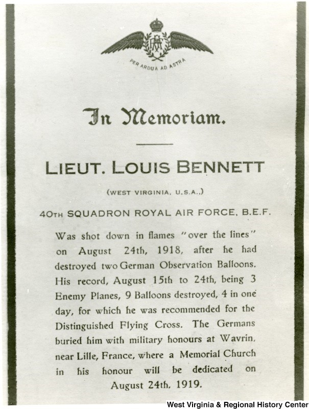 In Memoriam document for Louis Bennett