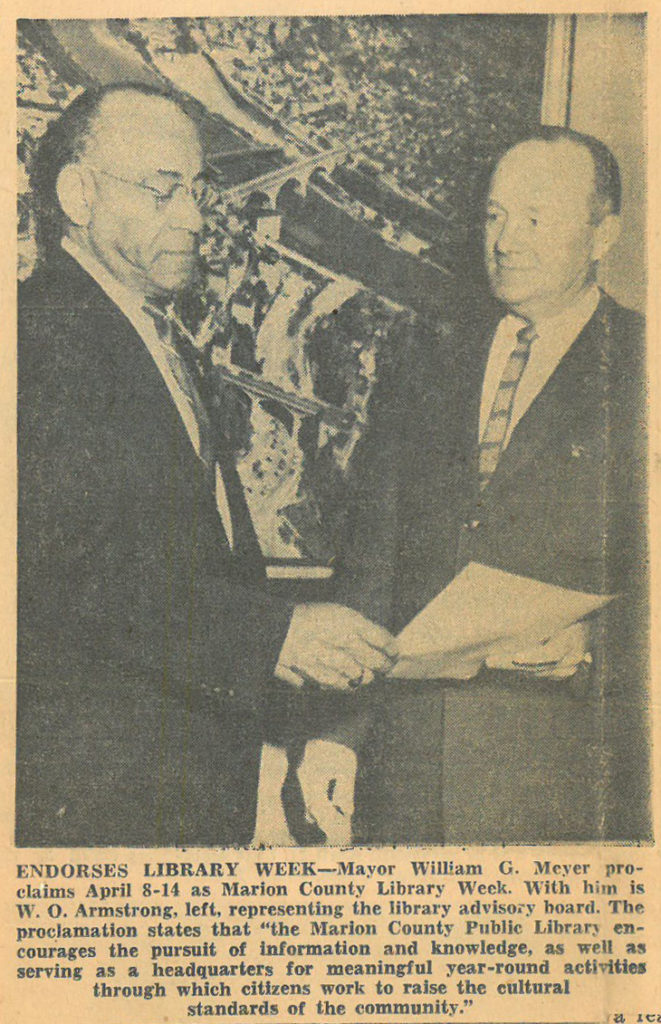 Fairmont Times-West Virginian newspaper clipping featuring Armstrong as representative of the Marion County Library Board, April 8, 1962