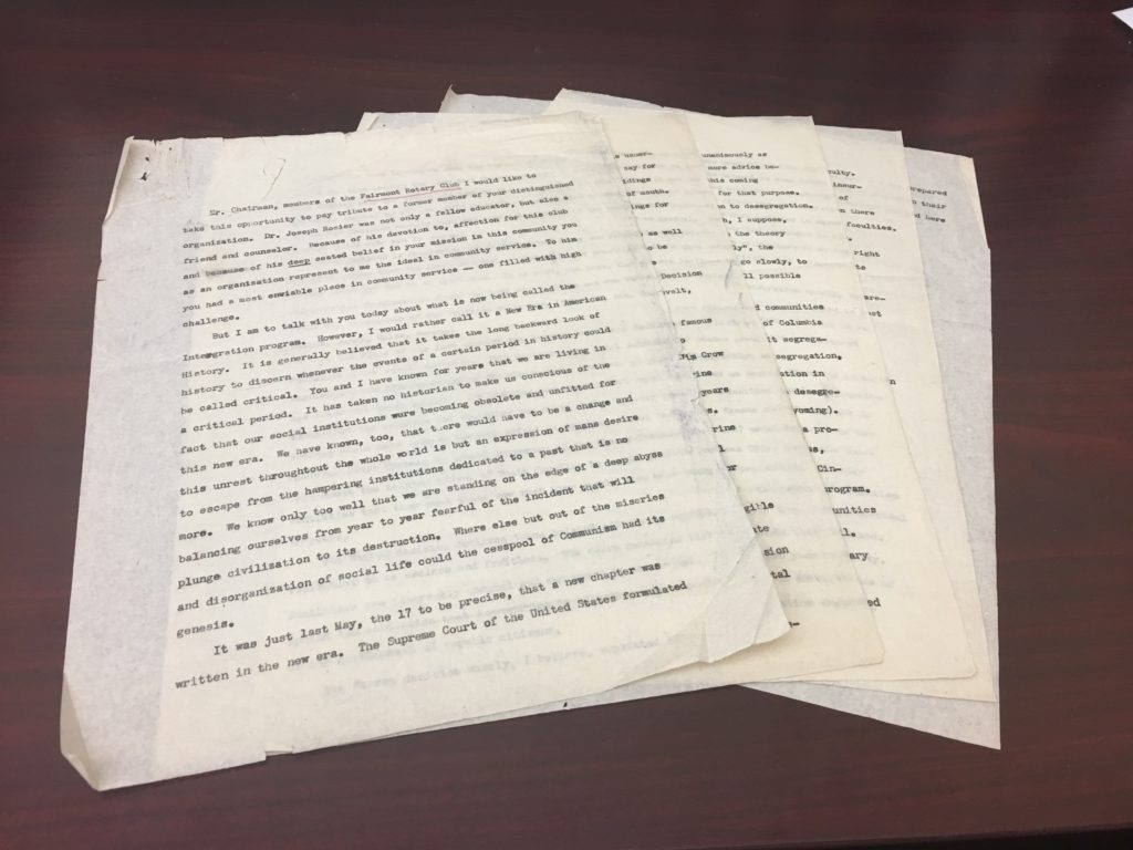 Pages of unpublished typescript speech from the Armstrong Papers, WVRHC