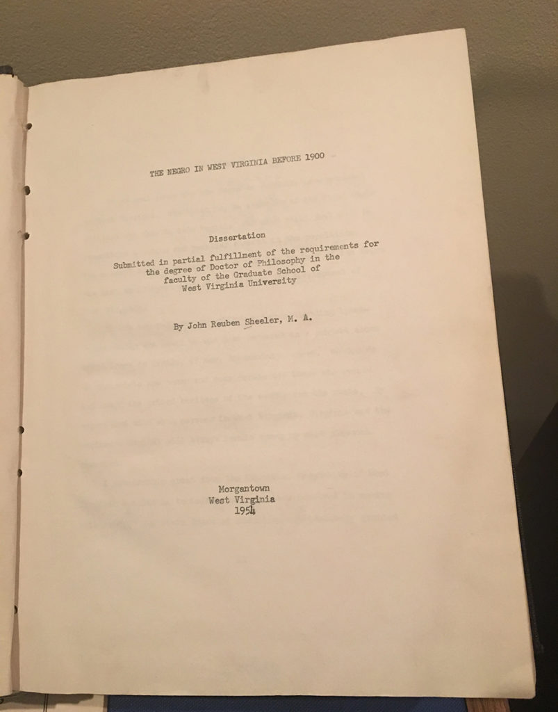 Title page of John Reuben Sheeler's doctoral dissertation