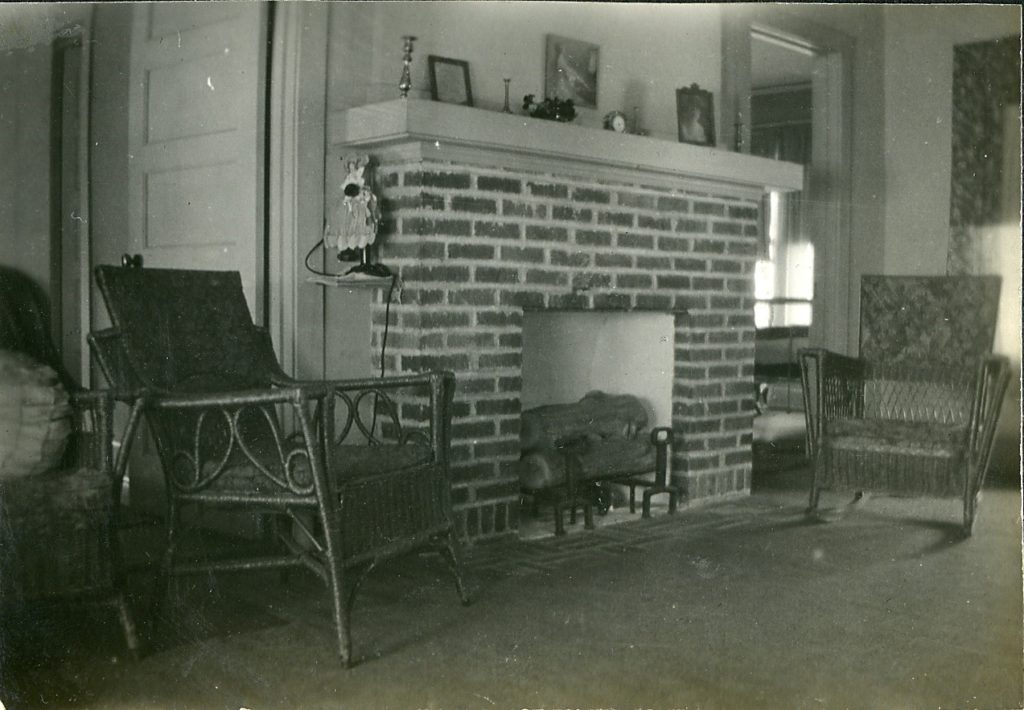 Interior of Minter home in Nitro, showing fireplace