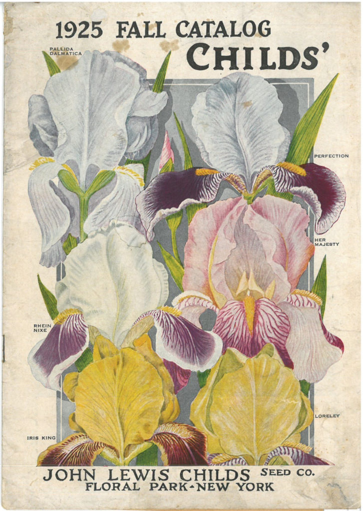 Cover of Child's seed catalog of 1925, showing various irises
