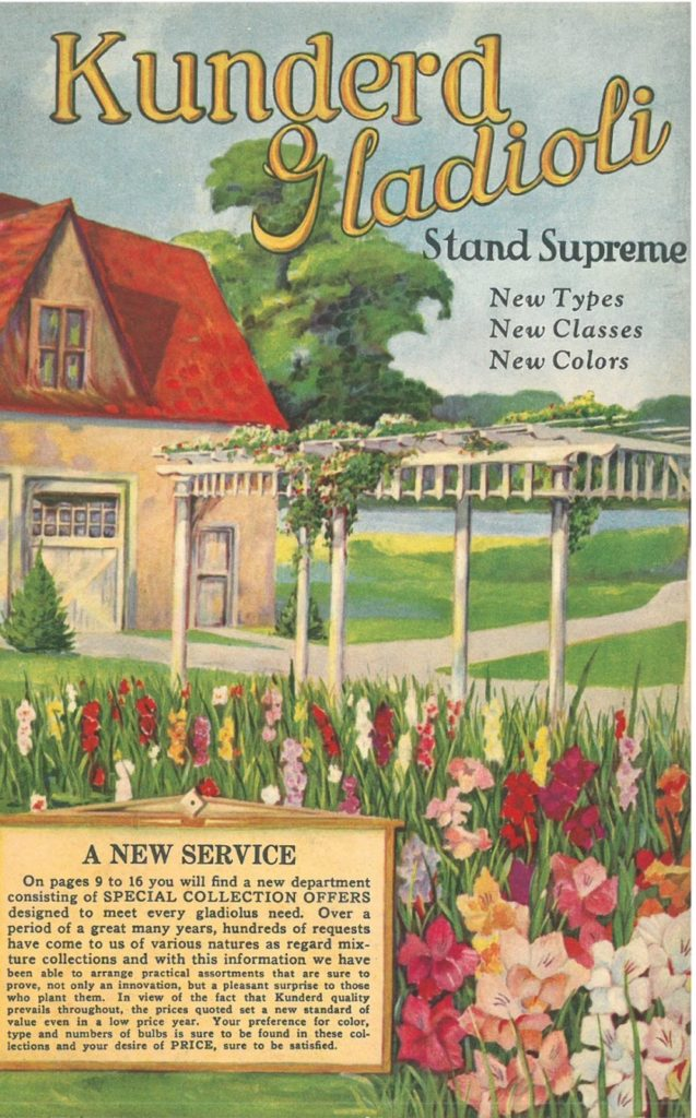 Cover of 1932 A.E. Kunderd garden catalog showing gladiolus