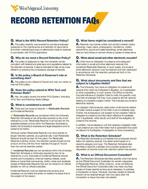 First page of the Record Retention FAQs