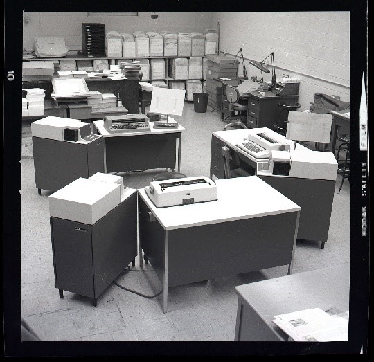 "Cluster of equipment in WVU's ""printing composing room"""