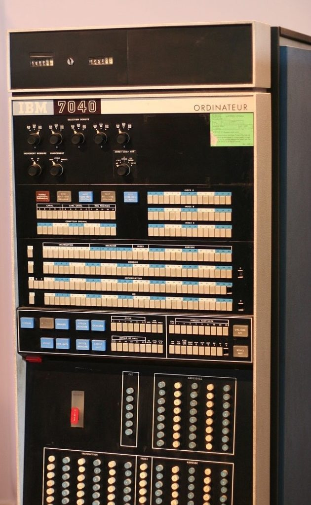 Control panel, in color, of the IBM 7040