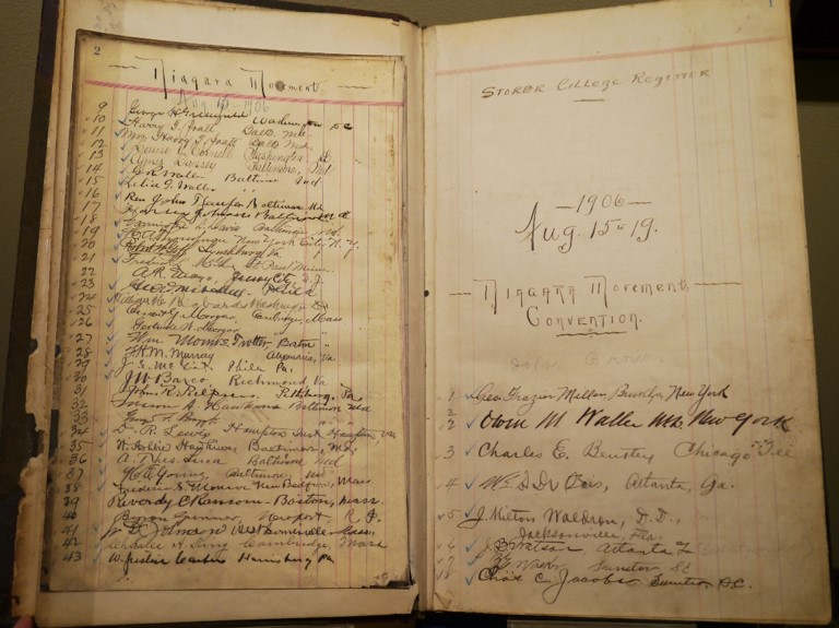 Storer College Register book for the Niagara Convention, with list of signatures