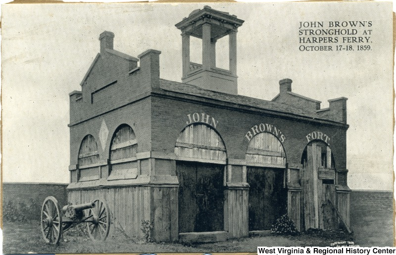 Exterior view (on postcard) of John Brown's Fort in 1859