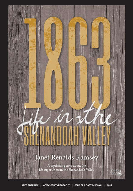 Reimagined cover for 1863: Life in the Shenandoah Valley, by student Jeff Breeden