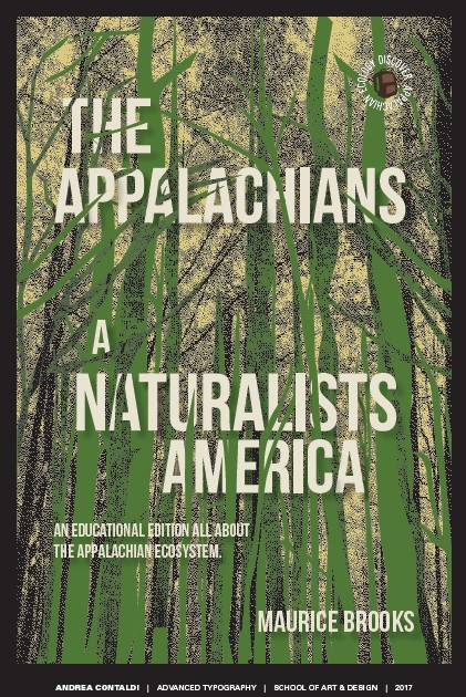 Reimagined cover for Maurice Brooks,' The Appalachians by student Andrea Contaldo