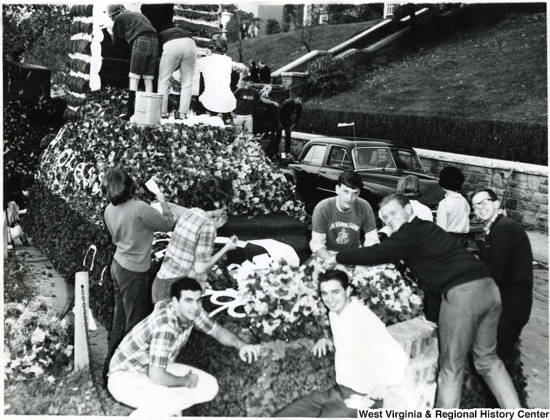 WVU students working on a parade float