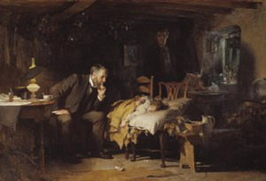 Man watching young girl sleeping on chairs with man in background