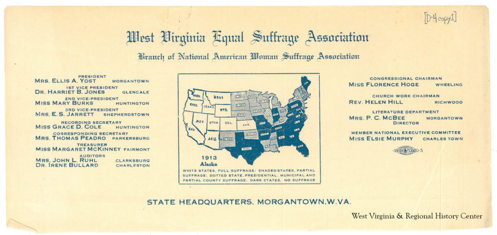 Letterhead of the West Virginia Equal Suffrage Association, ca. 1913, with names of officers listed on it