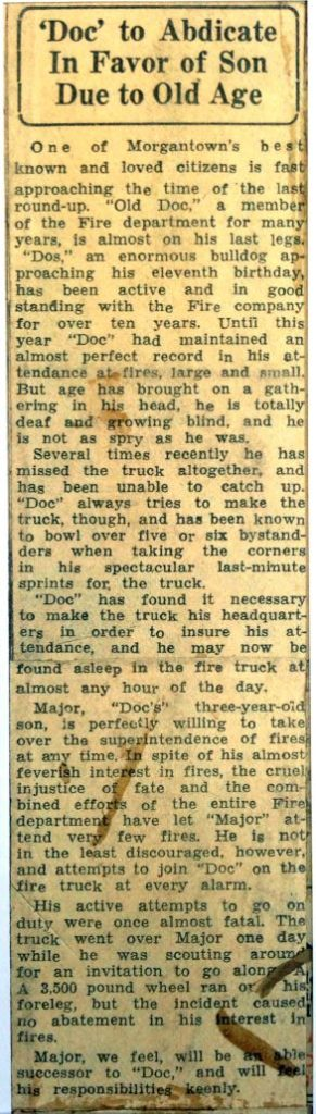 Clipping about the retirement of Doc the bulldog