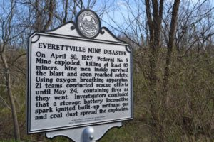 Everettville Mine Disaster highway marker sign